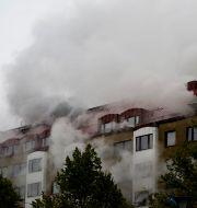 Rök efter explosionen i Annedal i Göteborg.  BJÖRN LARSSON ROSVALL/TT / TT NYHETSBYRÅN