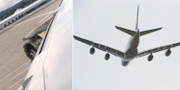 Till vänster, den skadade motorn. Till höger, arkivbild föreställande Airbus A380. TT