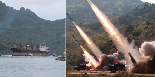 Det beslagtagna fartyget och uppskjutning av projektiler.  TT.