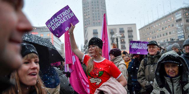 Bild från manifestationen. Stina Stjernkvist/TT / TT NYHETSBYRÅN