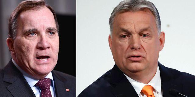 Stefan Löfven och Viktor Orbán. TT