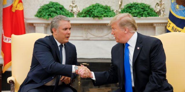 Iván Duque och Donald Trump i Vita huset CARLOS BARRIA / TT NYHETSBYRÅN
