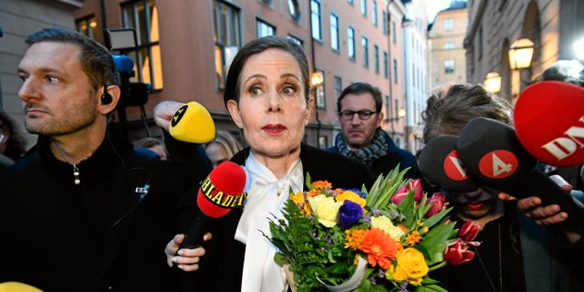 Sara Danius i samband med att hon avgick som ständig sekretare i april 2018.  Tomas Oneborg/SvD/TT / TT NYHETSBYRÅN