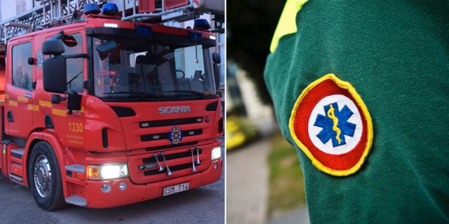 En bild på en brandbil och en bild på en ambulanssjuksköterska. Arkivbilder. TT