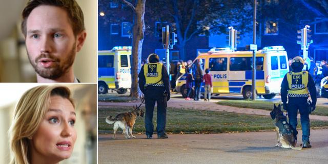 Rasmus Ling (MP), Ebba Busch Thor (KD) och illustrationsbild på polisen. TT