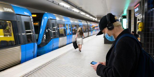 Tunnelbaneperrong i Stockholm.  Henrik Montgomery/TT / TT NYHETSBYRÅN