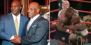 Evander Holyfield och Mike Tyson under ett evenemang år 2015/duon under skandalmatchen 1997. TT