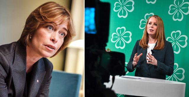 Annika Strandhäll (S) och C-ledaren Annie Lööf.  TT