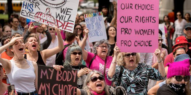 Demonstranter för aborträtt i Austin, Texas i maj.  Jay Janner / TT NYHETSBYRÅN/ NTB Scanpix