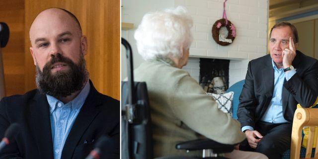 Daniel Suhonen. Stefan Löfven besöker ett äldreboende. Arkivfoto. TT