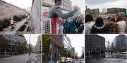 Berlin då och nu: Översta raden medan muren stod.  TT