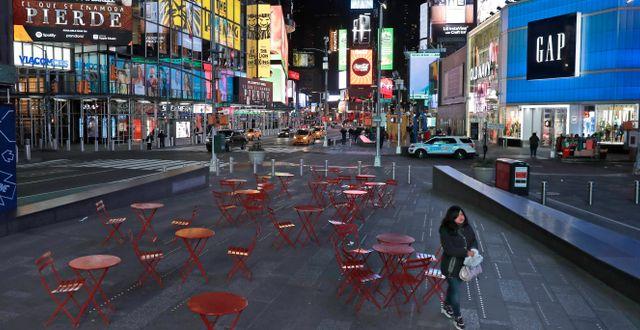 New York under lockdown våren 2020.  Seth Wenig / TT NYHETSBYRÅN