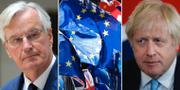 EU:s chefsförhandlare Michel Barnier, tv, och Storbritanniens Boris Johnson, th.  AP/TT