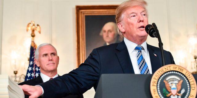 Donald Trump under pressträffen. NICHOLAS KAMM / AFP