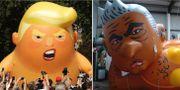 Ballongversioner av Trump och Khan TT