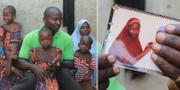Aisha Musa Maina och Musa Maina med barn. Till höger en bild av Hauwa. TT