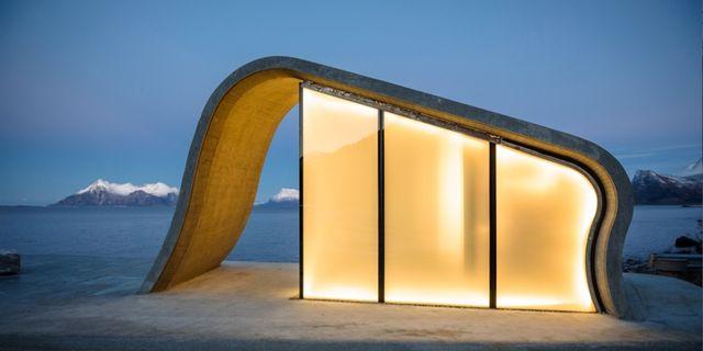 Vad som kallas världens vackraste offentliga toalett är designad av de Oslobaserade arkitekterna Marit Justine Haugen och Dan Zohar. Lars Grimsby / Statens Vegvesen