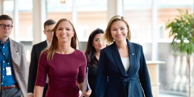 EU-kandidat Sara Skyttedal och KD:s partiledare Ebba Busch Thor.  Anders Wiklund/TT / TT NYHETSBYRÅN