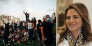 Demonstranter på Martyrtorget i Beirut / Manal Abdul Samad TT
