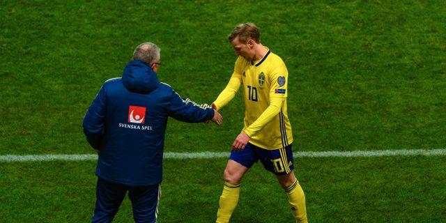 Emil Forsberg byttes ut mot Rumänien. SIMON HASTEGÅRD / BILDBYRÅN