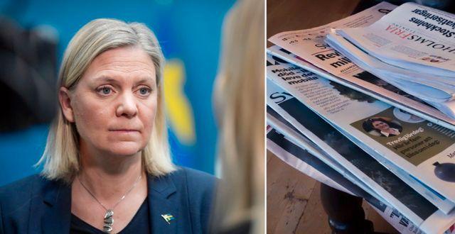 Illustrationsbilder: Finansminister Magdalena Andersson (S), och dagstidningar. TT