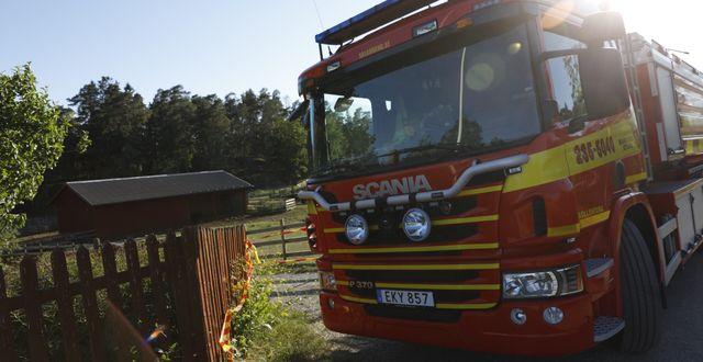 Brandförsvaret har dragit sig tillbaka från området. Fredrik Persson/TT / TT NYHETSBYRÅN