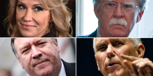 Kellyanne Conway, John Bolton, Mike Pompeo och Mike Pence. TT