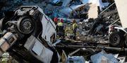 Räddningsarbetare i Genua.  ANDREA  LEONI / AFP