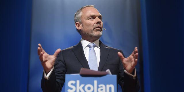 Jan Björklund under talet. Fredrik Sandberg/TT / TT NYHETSBYRÅN
