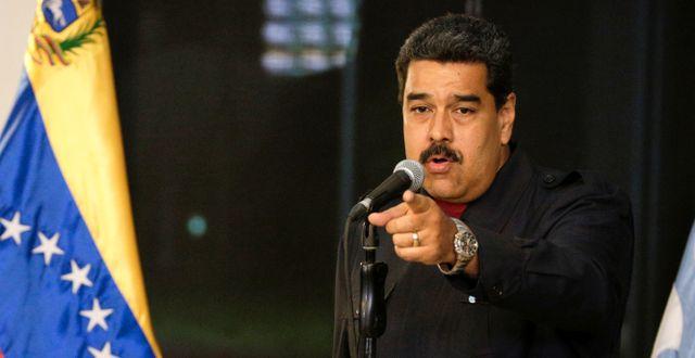 Nicolás Maduro under en presskonferens på måndagen. MARCO BELLO / TT NYHETSBYRÅN