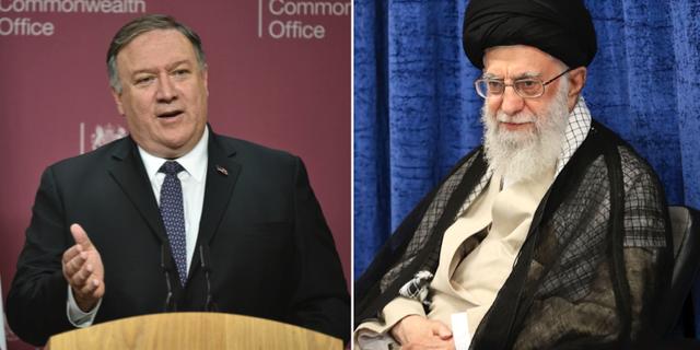 Mike Pompeo och Ayatolla Ali Khamenei. Arkivbilder. TT