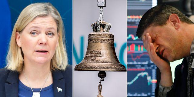 Arkivbilder: Finansminister Magdalena Andersson (S), börsklockan på Nasdaq Stockholm, börsmäklare på Wall Street. TT