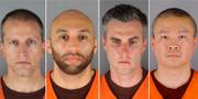 De fyra misstänkta poliserna. TT