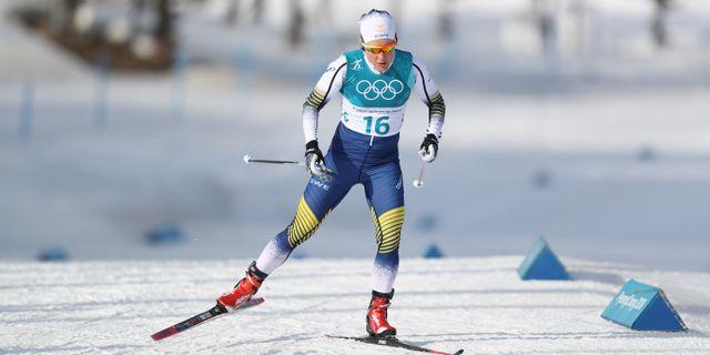 Hanna Falk under 10 km fristil i OS i Pyeongchang. ANDREAS HILLERGREN/TT / TT NYHETSBYRÅN