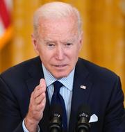 USA:s president Joe Biden till höger. Vänsterprofilerna Alexandria Ocasio-Cortez och Bernie Sanders till höger. TT