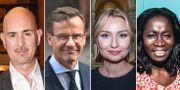 Micael Bindefeld, Ulf Kristersson, Ebba Busch Thor och Nyamko Sabuni. Arkivbilder. TT