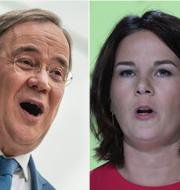 Kanslerkandidaterna Armin Laschet (CDU/CSU), Annalena Baerbock (De Gröna) och Olaf Scholz (Socialdemokraterna) TT