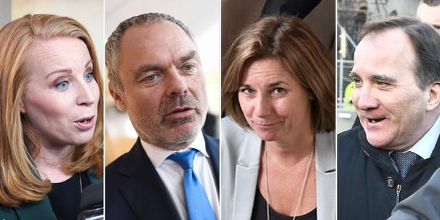 Annie Lööf (C), Jan Björklund (L), Isabella Lövin (MP) och Stefan Löfven (S) TT
