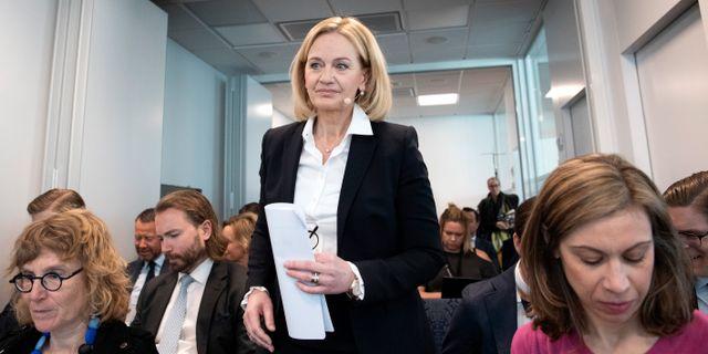 Carina Åkerström vid press- och analytikerträff i början av april. Jessica Gow/TT / TT NYHETSBYRÅN
