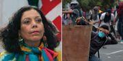 Rosario Murillo/En av demonstranterna.  TT