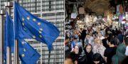 EU:s flagga och folk på bazaar i Teheran, Iran.  TT