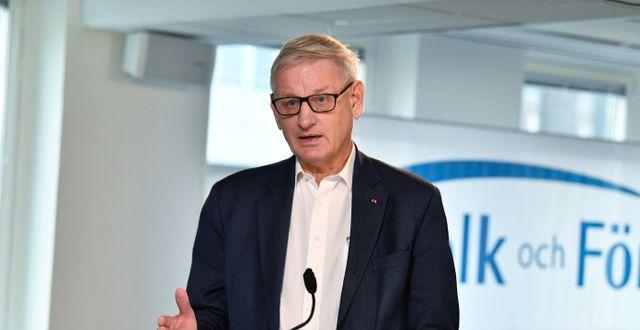 Carl Bildt under Folk och Försvars digitala rikskonferens i januari. Arkivbild.  Jessica Gow/TT / TT NYHETSBYRÅN