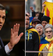 Pedro Sanchez/Demonstranter till stöd för Katalonien. TT
