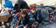 En familj vilar i närheten av Edirne vid gränsen mellan Turkiet och Grekland.  Emrah Gurel / TT NYHETSBYRÅN
