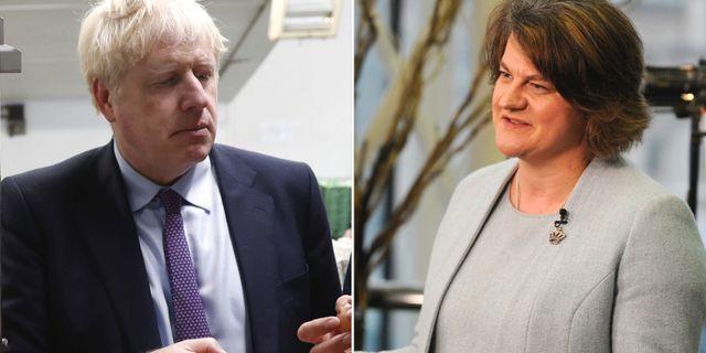 Boris Johnson och Arlene Foster. AP