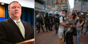 Mike Pompeo. Protester i Hongkong.  TT