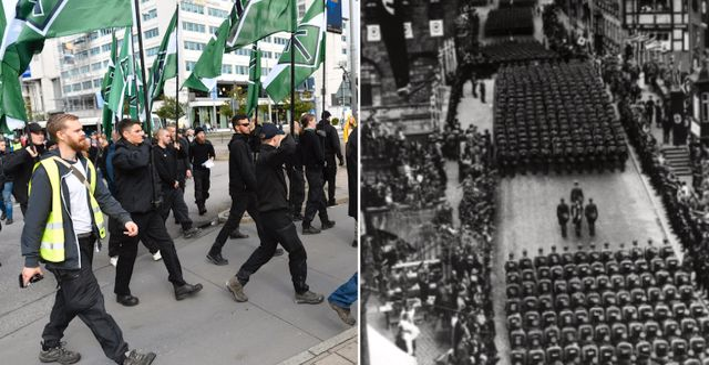 Nazistiska NMR demonstrerar i Göteborg och bild från Nürnbergdagarna.