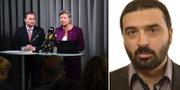 Stefan Löfven (S) och Ylva Johansson t.v. Ali Esbati (V) t.h. TT/Riksdagen