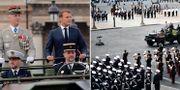 Emanuel Macron under firandet/Soldater vid Place de la concorde AP/TT