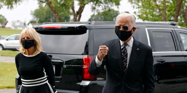 Jill och Joe Biden på måndagen. Patrick Semansky / TT NYHETSBYRÅN